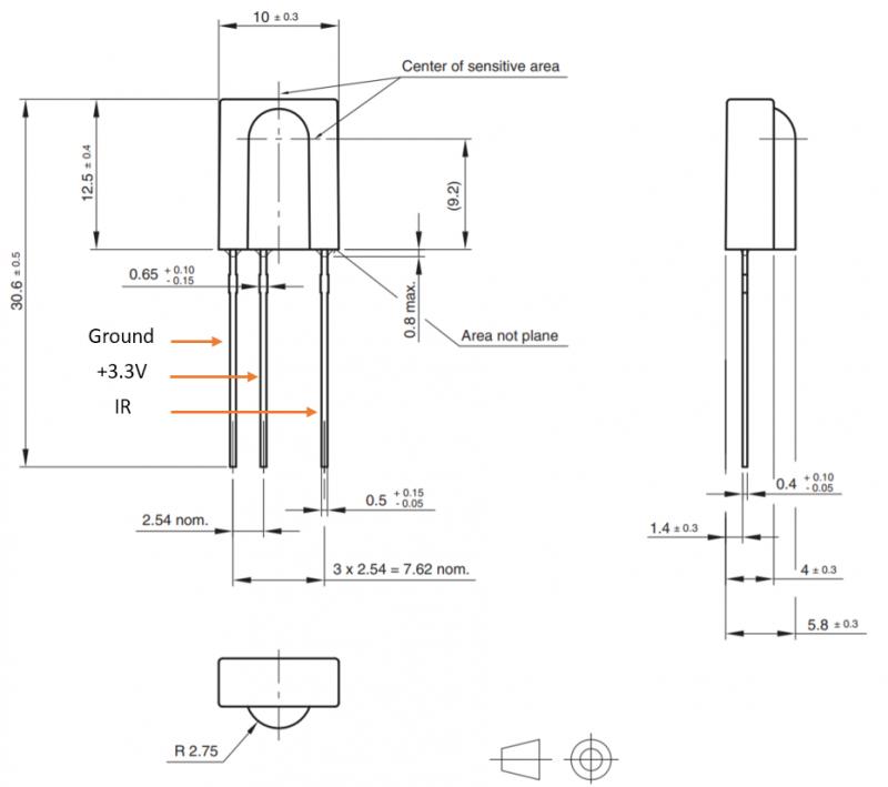 tortuga audio IR receiver module dimentions