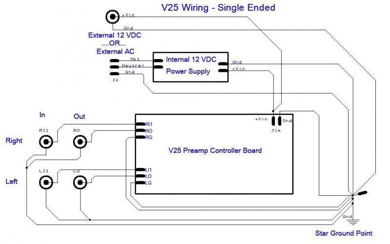 V25 preamp controller single-ended wiring schematic